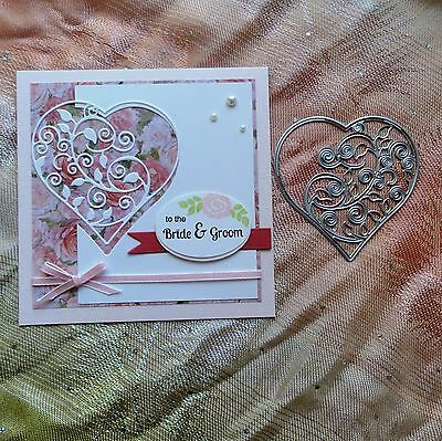 Shopaperartz VINE HEART BIRTHDAY WEDDING CUTTING DIE FITS SIZZIX CUTTLEBUG - NEW
