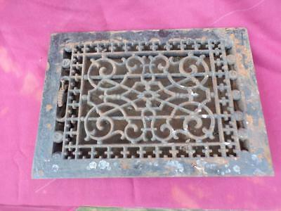 Antique Victorian Cast Iron Grate With Attached Working Louver 13 1/4 By 9 1/2