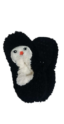 Women Black Pinguin U/D Slipper Socks Poodle-Fur House Shoes Mid Weight Snoozies