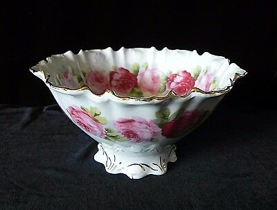 "Antique SILESIEN FOOTED PORCELAIN ROSES BOWL 7"" Diameter GERMANY"