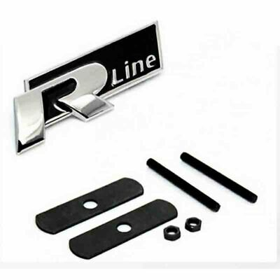 R Line Badge Front Chrome Red Decal Grill Logo Emblem For VW All Car  1PC