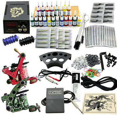 Tattoomaschine Tattoo Maschine Komplett Set 2 Tattoo Tätowier Gun 20Farben Tinte