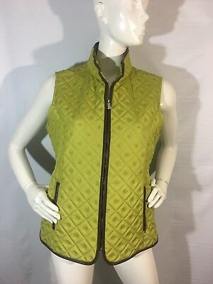 Tweeds Vest Women's Size Medium Quilted Faux Leather Trim Green Brown NWT