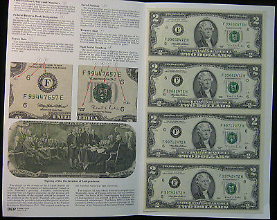 1995 $2 BEP Uncut Sheet - 4 Notes. Uncirculated. Atlanta. (1117291)