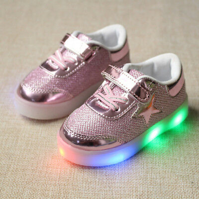 Kids Boys Girls LED Shoes Light Up Sports Luminous Sneakers Children Trainers