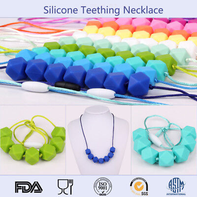 Teething Necklace BPA Free Hexagon Silicone Beads Baby Sensory Jewellery Teether