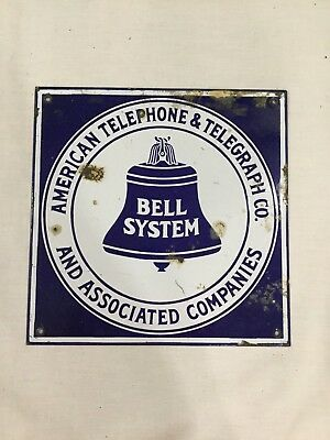 """RARE Bell System """"TELEPHONE & TELEGRAPH CO"""" PORCELAIN SIGN ! MUST SEE"""