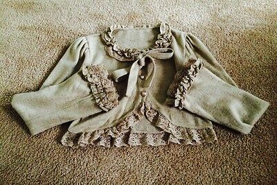 Beige Brown Bodyline Bow Shirt Bolero Shrug Sweater Button Sleeve Gothic Lolita