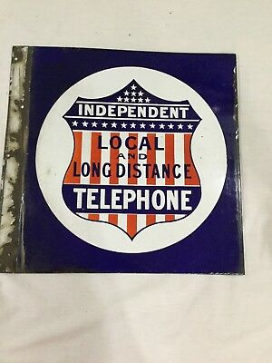Rare Independent Local & Long Distance Telephone, Porcelain Sign,1910's-20's