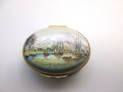 HALCYON DAYS Trinket Box Limited Ed. - Captain Cook Landing at Owhyhee (Hawaii)