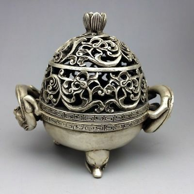 Collection Tibet silver hand-carved dragons & beast hollow-out Incense burner Zw