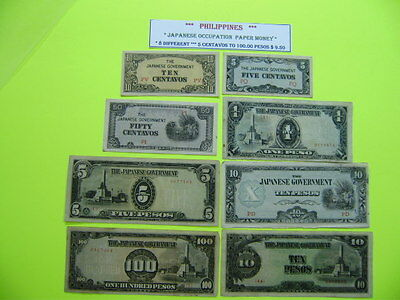 PHILIPPINES Money Bank Note Japanese Japan Occupation  8 DIFF. 5c to 100 Pesos