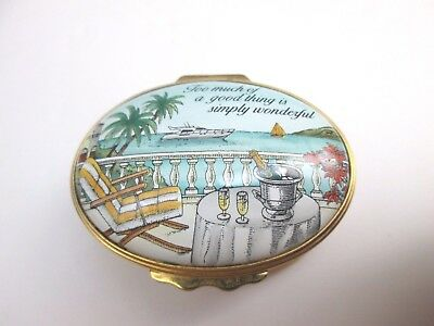 """Halcyon Days Enamel Box - """"too Much Of A Good Thing Is Wonderful"""" - Ocean Scene"""