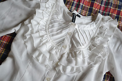White Milano Elegant Button Up Shirt 3/4 sleeve Lolita New NWT Ruffle Bib Work