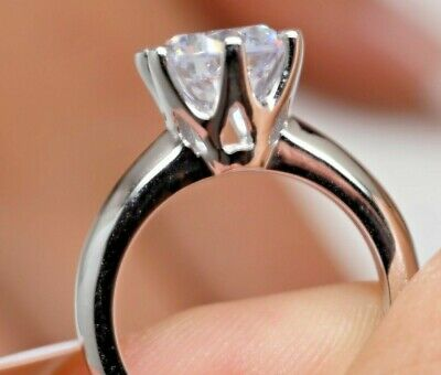 1.5 Ct Round Cut Diamond Solitaire Engagement Ring 14K White Gold Enhanced