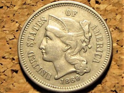 1869 Three Cent Nickel   XF   Extra Fine   Free Shipping  !