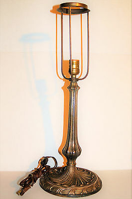 Antique Lamp Gilt Cast Iron Art Deco Brass  22''  With Circular Shade Support