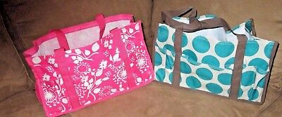 TWO Thirty-One Medium Utility Bags Thirty-One Gives Pink, & Turq Polka-Dots VGUC