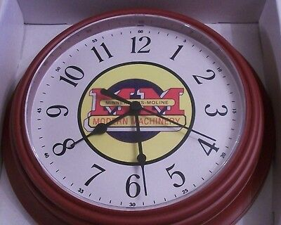 New Minneapolis Moline Tractor Logo Clock Round Modern Machinery Logo Clock Face