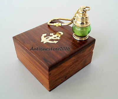 Nautical Vintage Brass Lantern Lamp Key Chain With Wooden Box Christmas Gift ...