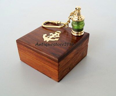 Antique Brass Nautical Lantern Lamp Key Chain With Wooden Box Christmas Gift ...