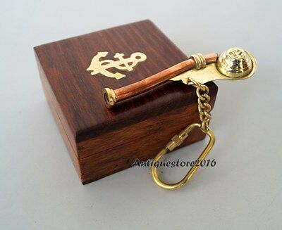 Brass Vintage Bosun Whistle Key Chain Nautical Christmas Gift With Wooden Box...