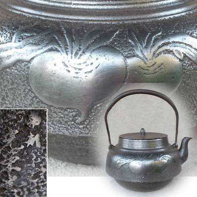 Japanese Antique KANJI old Iron Tea Kettle Tetsubin teapot Chagama 990