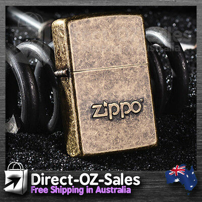 Zippo Lighter Stamped Logo Antique Brass- Genuine -- Oz Seller -- FREE POST!