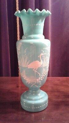 Large Antique Victorian Art Glass Bristol Vase Handpainted Powder Blue NR!!