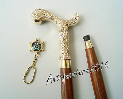 "Victorian Brass Handle Wooden Walking Cane 36"" W/Free Key Chain Beautiful Gift.."