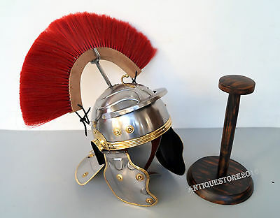 Roman Wearable Imperial Gallic Centurion Helmet With Red Plume Wooden Stand Gift