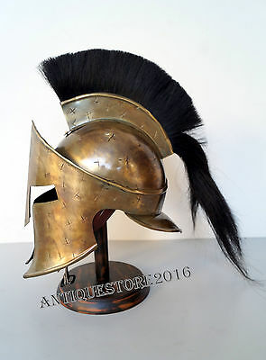 Reenactment King Leonidas 300 Movie Medieval Spartan Helmet With Black Plum
