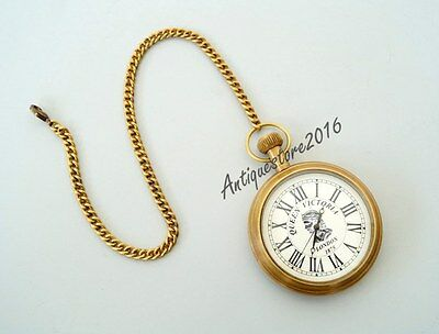 Vintage Style Grandfather Roman Pocket Watch Necklace Antique Brass Finish Chain