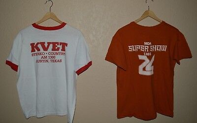 Vintage 80's Austin Texas Radio Television T-Shirts LOT OF TWO! fits LARGE