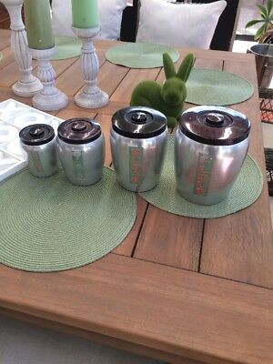 Vintage Set Of 4 Aluminium Retro Canisters. Made In Japan. Fantastic Display
