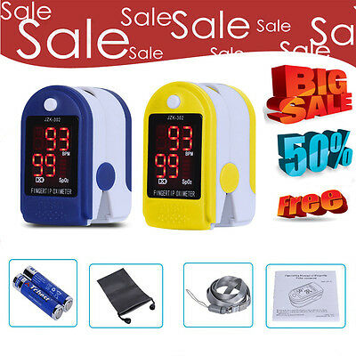 UK LED Finger Tip Pulse Oximeter SPO2 PR Blood Oxygen Heart Rate Monitor+ Pouch