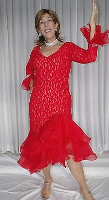 Doré ORIGINAL RED LACE BALLROOM DANCING GOWN LATIN STYLE SIZE 10-12