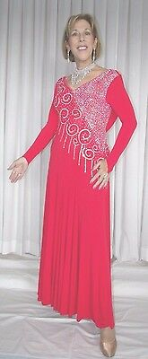 Doré RED BALLROOM DANCE GOWN AMERICAN SMOOTH INTERNATIONAL COMPETITION 10-12