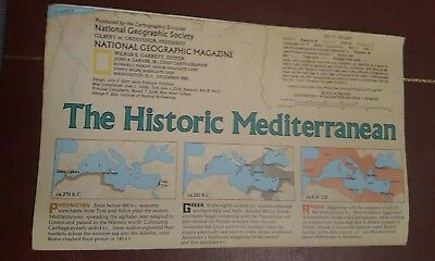 National Geographic Mag -supplement map the historic mediterranean   - free post