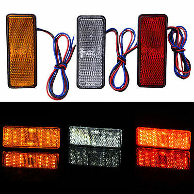 12V 6W 24 LED Motorcycle Square Reflector Rear Tail Brake Turn Signal Light Lamp