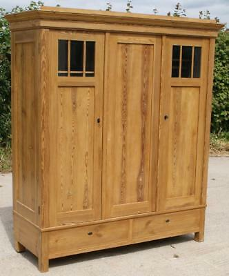 EARLY 20th CENTURY LARGE ANTIQUE GERMAN SOLID PINE ARMOIRE  WARDROBE