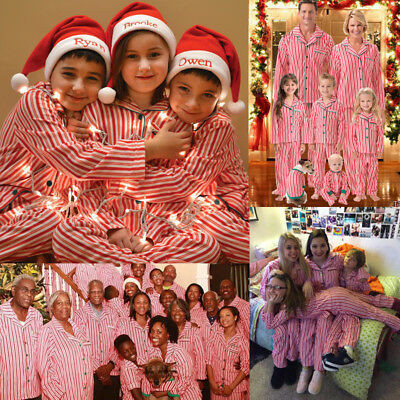 Christmas Kids Adult Family Pajamas Set Cotton Sleepwear Nightwear Outfits AU