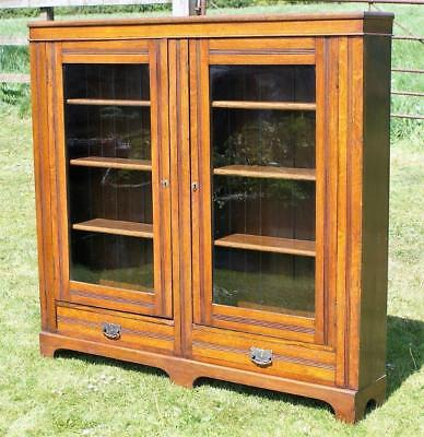SUPER EARLT 20th CENTURY ANTIQUE ENGLISH OAK DISPLAY CABINET / BOOKCASE