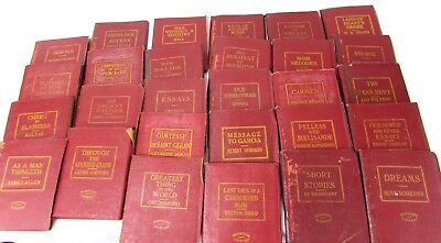 28 1920's Red Leather Shakespeare Miniature Library Books Various Authors