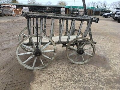 Vintage Wooden Cart Dog With Cartwheels  Wagon Wheel Reclaimed Original
