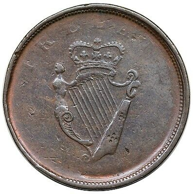 1806 Ireland Penny Token, harp both sides, Withers 1907, Davis 55, F, rare