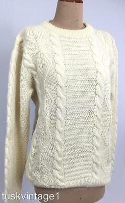 VINTAGE Unisex CREAM wool WOOLLEN cable AYRAN soft knit JUMPER M mens 10 12 14