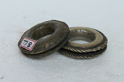 1900's Antique Old Hand Crafted Brass Gugru Bells Sleigh Wear Rich Patina NH778