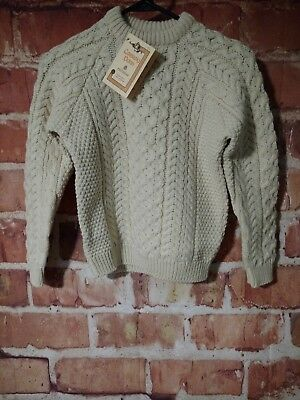 "Aran Carraig Donn 100% Pure Wool Cable Knit Sweater Size 32"" Nwt:free Ship"