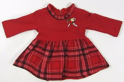 Baby Babies Girls Red Long Sleeve Party Rose Bow Pin Tartan Christmas Dress 36 M